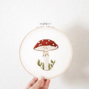 Mushroom embroidery hoop